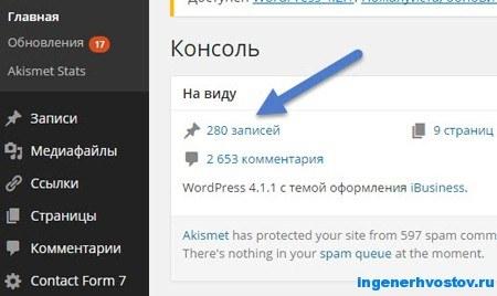 количество статей на блоге