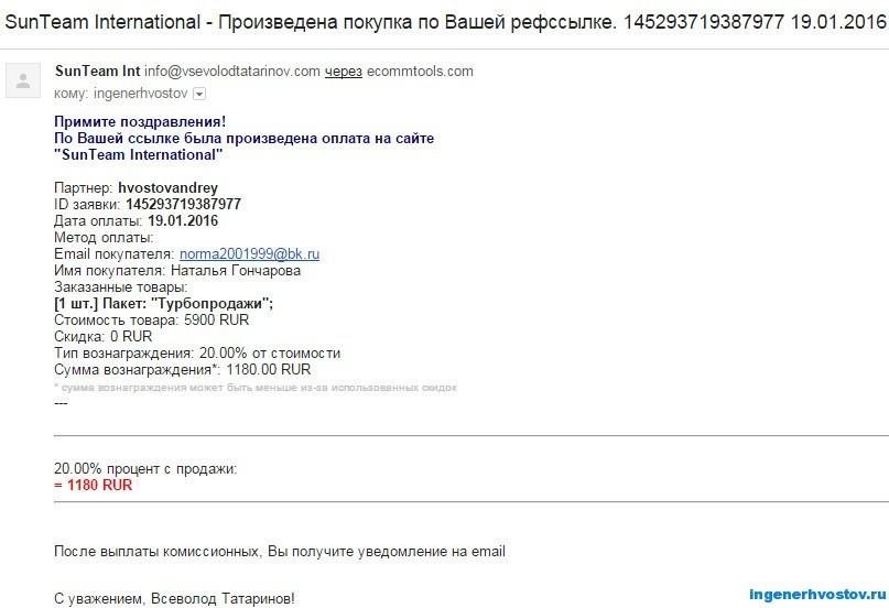Комиссионные от Всеволода Татаринова