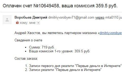 Комиссионные Дмитрий Воробьёв
