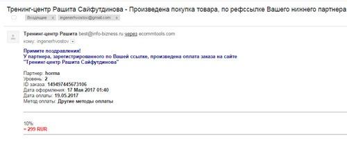 Сайфутдинов Рашит, комиссионные