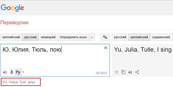 Как написать Ю английскими буквами