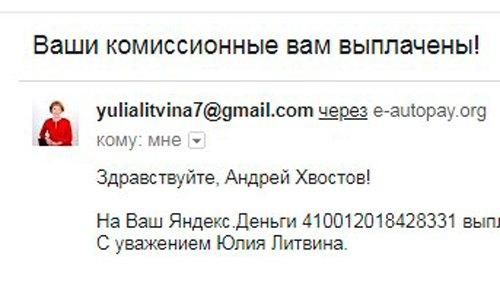 Литвина Юлия, комиссионные
