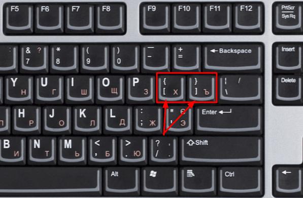 Как поставить квадратную скобку на клавиатуре