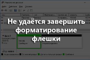 Не удаётся завершить форматирование флешки, что делать