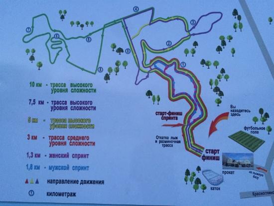 План лыжных трасс в Чайке, Самара