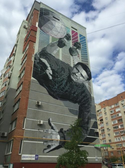Лев Яшин, изображение на доме
