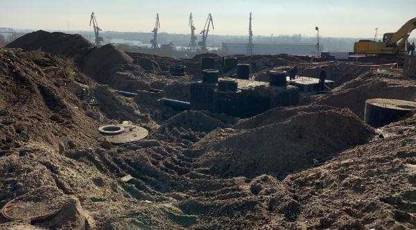 строительство дороги у моста через Самару